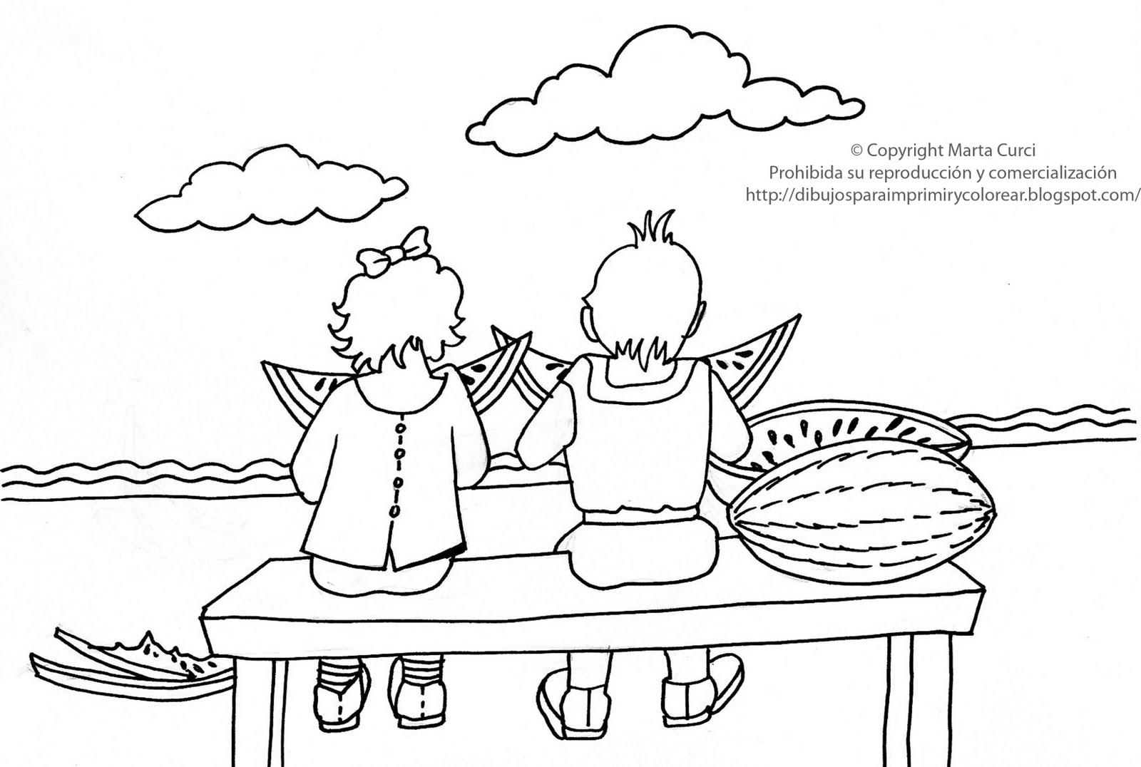 Dibujos Para Colorear Ninos Comiendo