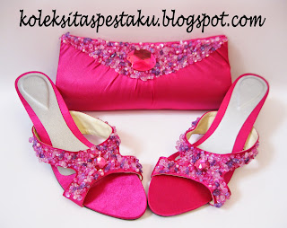 Sepaket Tas Pesta dan Sepatu Pesta Pink Fanta Cantik