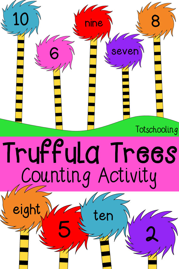 FREE printable Dr. Seuss' inspired book activity featuring Truffula Trees from the Lorax. Count the stripes on the truffula trees and find the matching tuft with the correct number or word. Fun math counting activity for preschool and kindergarten, perfect for Read Across America Day.