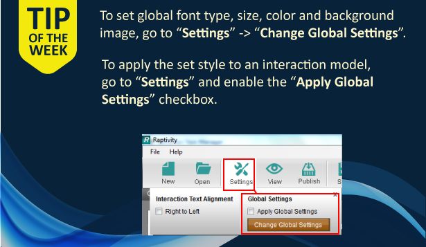 An image explaining how to set and apply global font and background for Raptivity interactions.