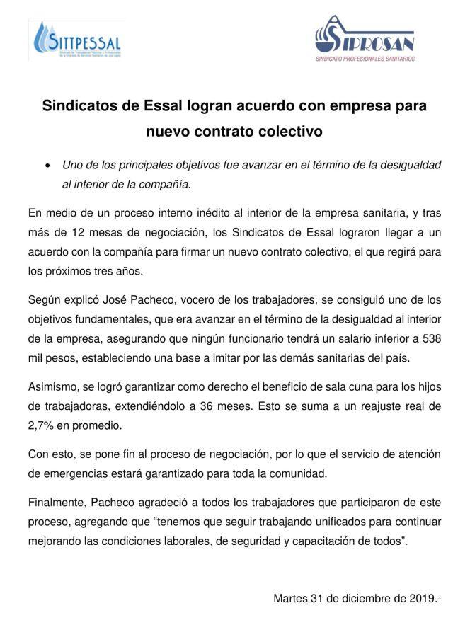 ESSAL:  sueldo mínimo de $538 mil pesos
