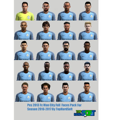 Pes 2013 Man City Full Faces Pack For Season 2016-2017 By TopHardSoft