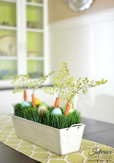Easter centerpiece made from recycled materials