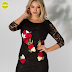 Rochie midi eleganta neagra cu dantela cu broderie florala