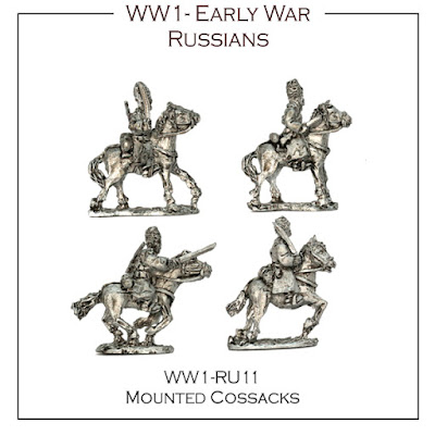 WW1-RU11 Russian Early War Cossacks - (16 Figures + 4 Bases)