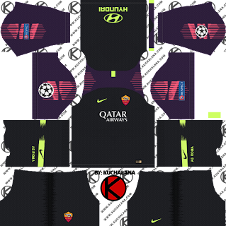 as-roma-nike-kits-2018-19-dream-league-soccer-%2528goalkeeper-away%2529-ucl