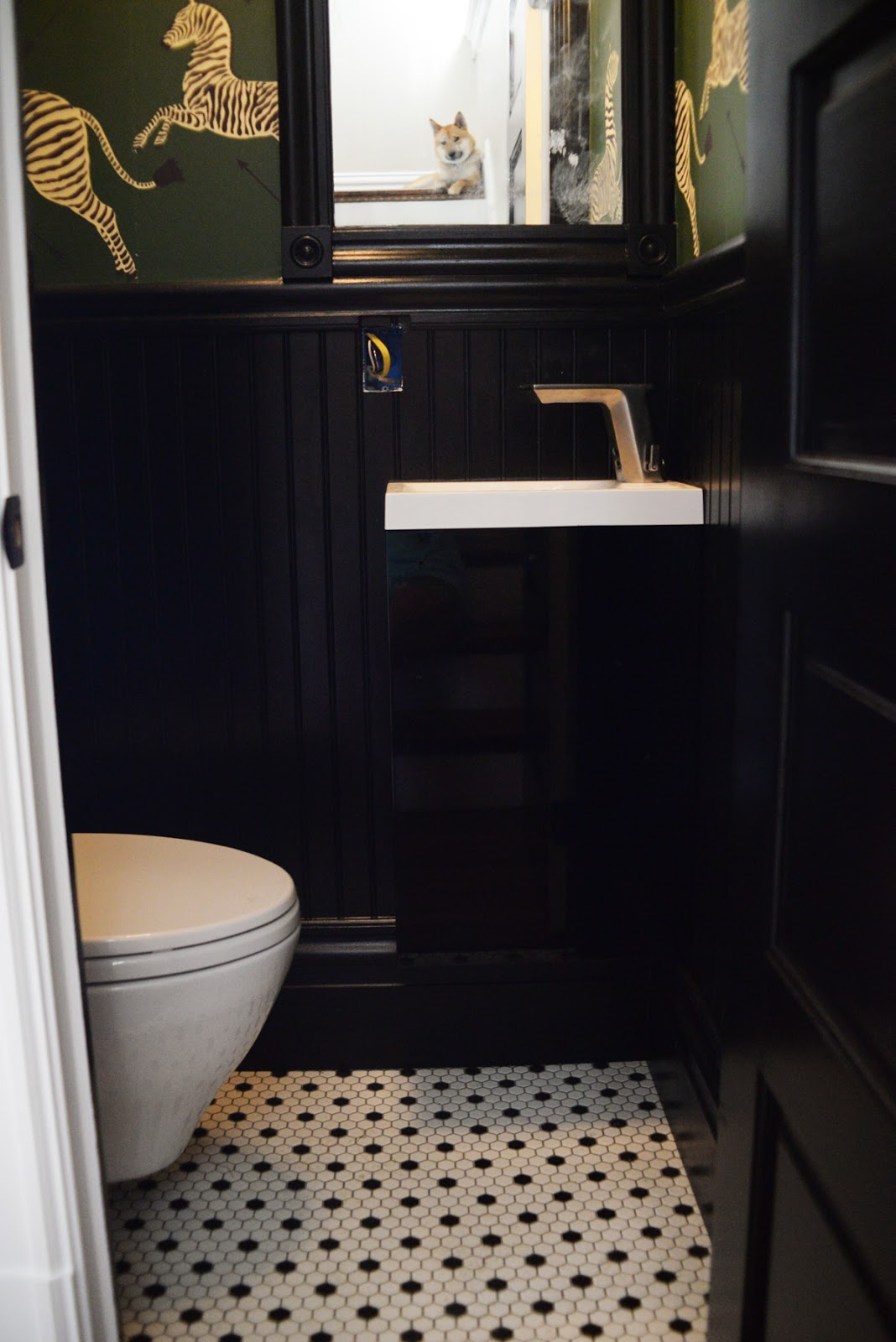View from my heels guest post tiny half bath reno Small black and white bathroom