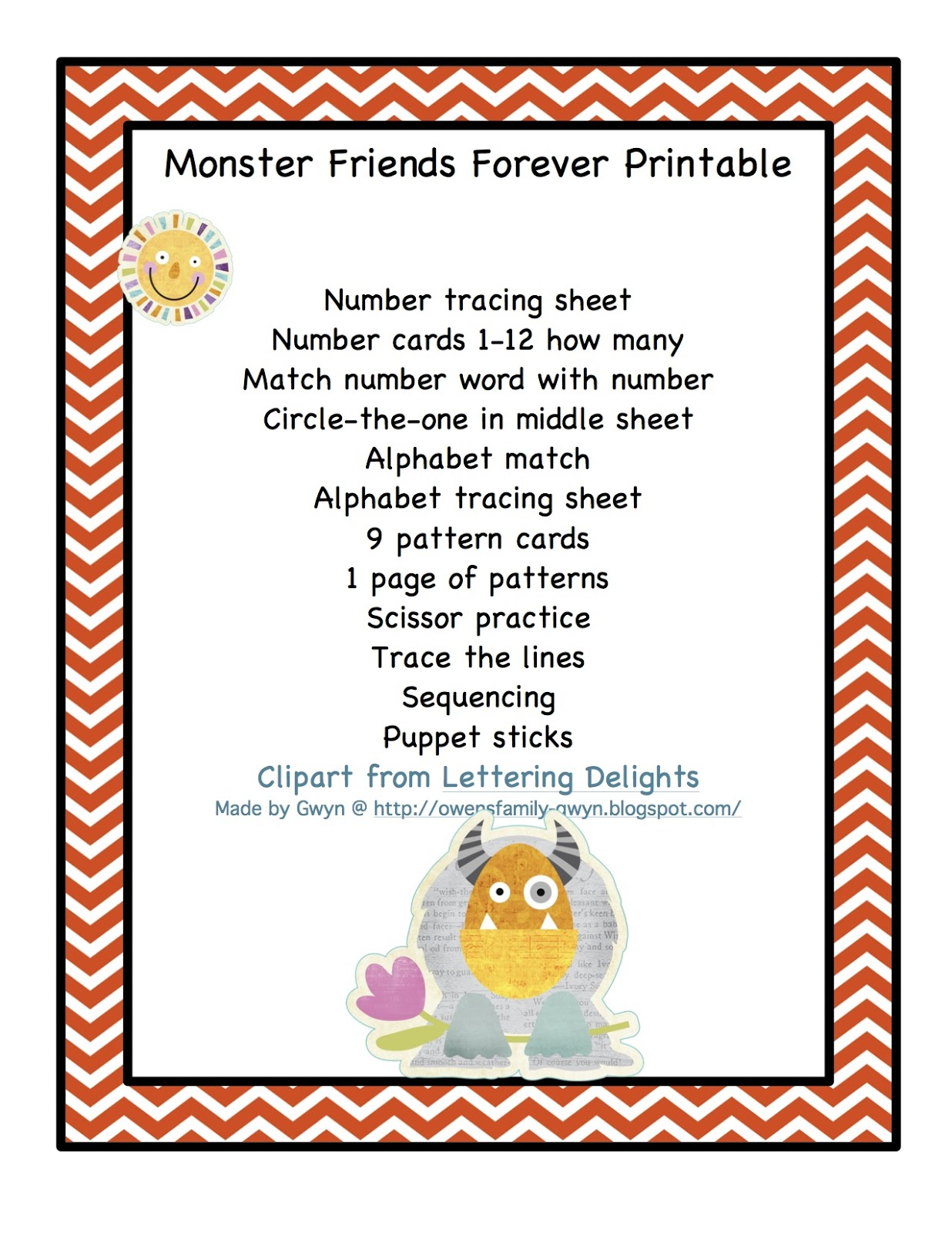 Monster Friends Forever Printable Preschool Printables