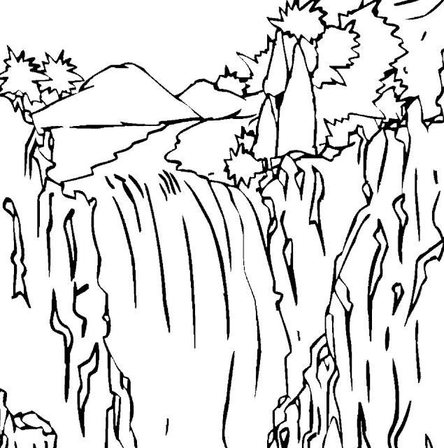 Gambar Mewarnai Pemandangan Air Terjun - 2