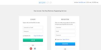التسجيل او تسجيل الدخول على موقع easyeda