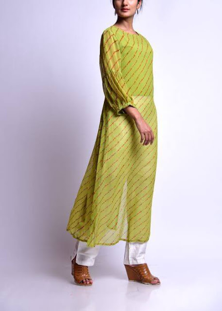 Elegant Long Georgette Kurti with Loose Comfly Sleeves