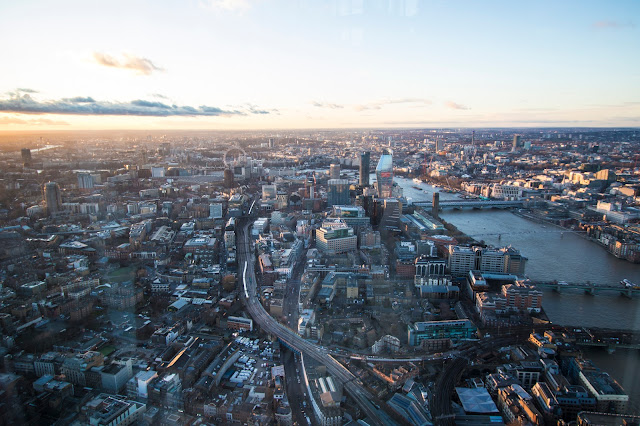 Panorama al tramonto dal The Shard-Londra