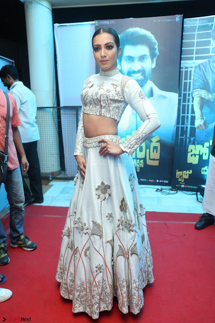Catherine Tresa in Beautiful emroidery Crop Top Choli and Ghagra at Santosham awards 2017 curtain raiser press meet 02.08.2017 003.JPG