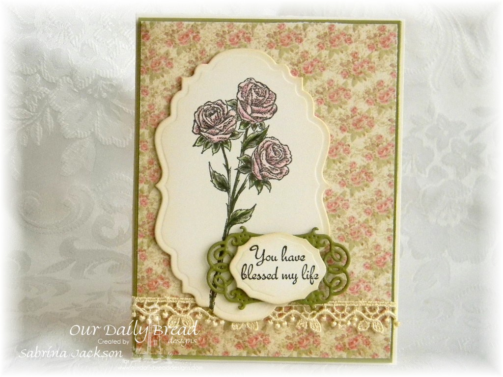 Stamps - Our Daily Bread Designs Rose, ODBD Custom Vintage Labels Die, ODBD Custom Vintage Flourish Pattern Die, ODBD Elegant Ovals Die, ODBD Blushing Rose Paper Collection