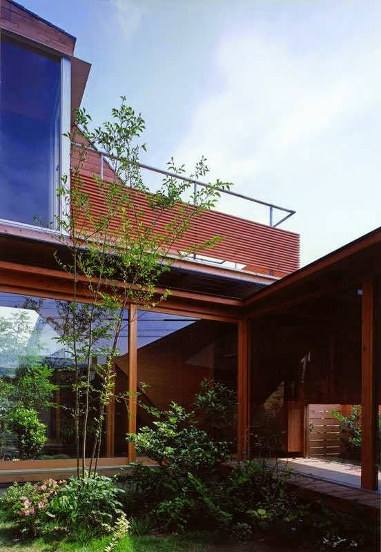 Japanese Wood Clad House Design With Multi Level Decks