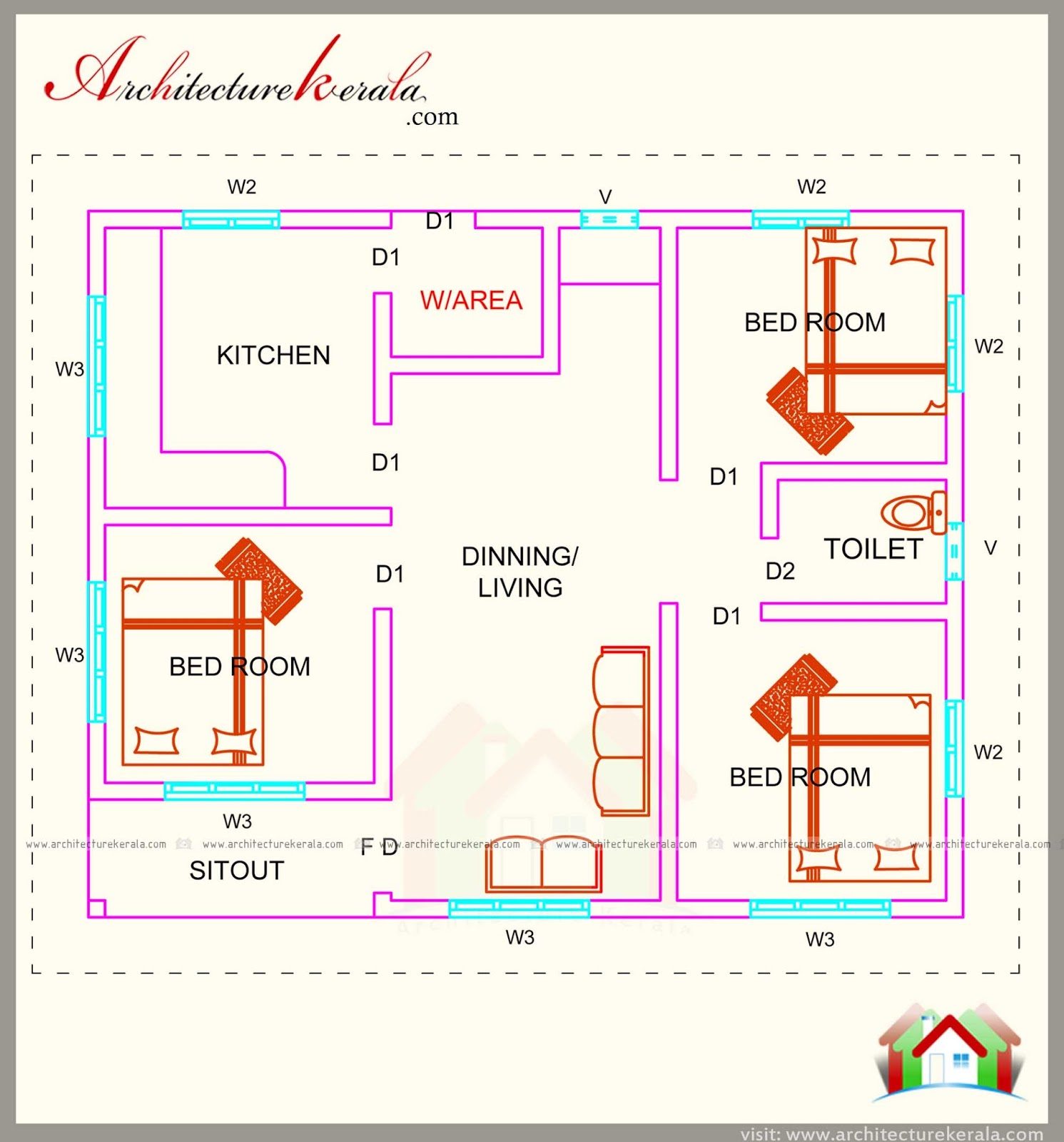 760 square feet 3 bedroom house plan architecture kerala for Kerala 3d home floor plans