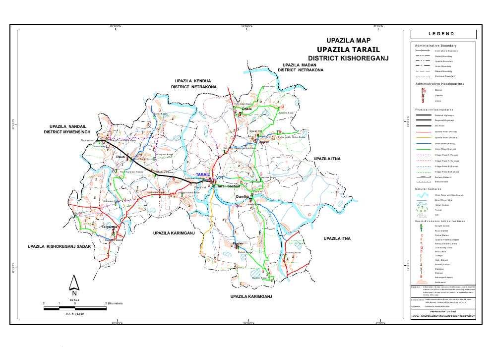 Tarail Upazila Map Kishoreganj District Bangladesh