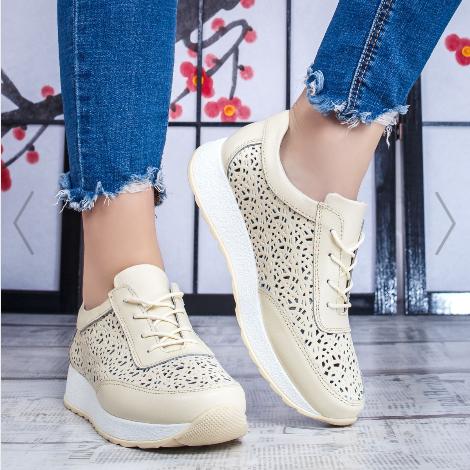 Pantofi Piele naturala sport de dama bej la pret mic moderni