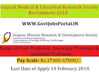 Gujarat Medical & Education Research Society Recruitment 2018 – 349 Professor, Associate Professor & Assistant Professor