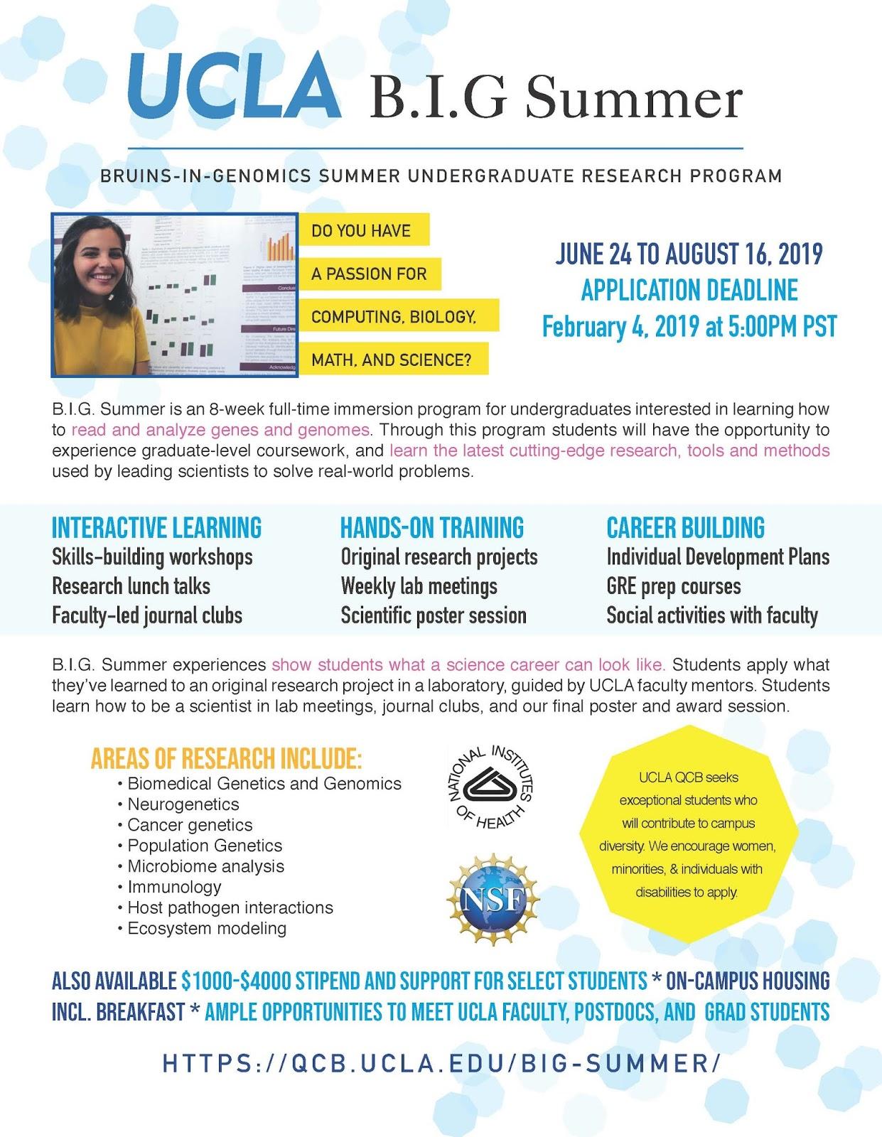ABE Undergraduate News and Notes: UCLA B I G  Summer 2019 - Paid