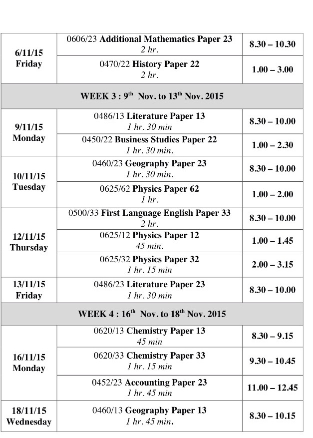 Cambridge Igcse Timetable 2019
