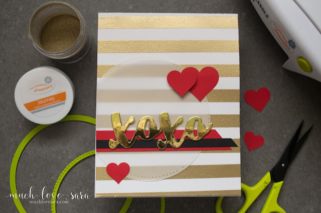 This handmade card features a stamped and heat embossed golden striped background, along with a beautiful gold mirror Lovely Words Card Stock sticker for for the sentiment.  Perfect for a Valentine or anniversary card for your sweetheart.