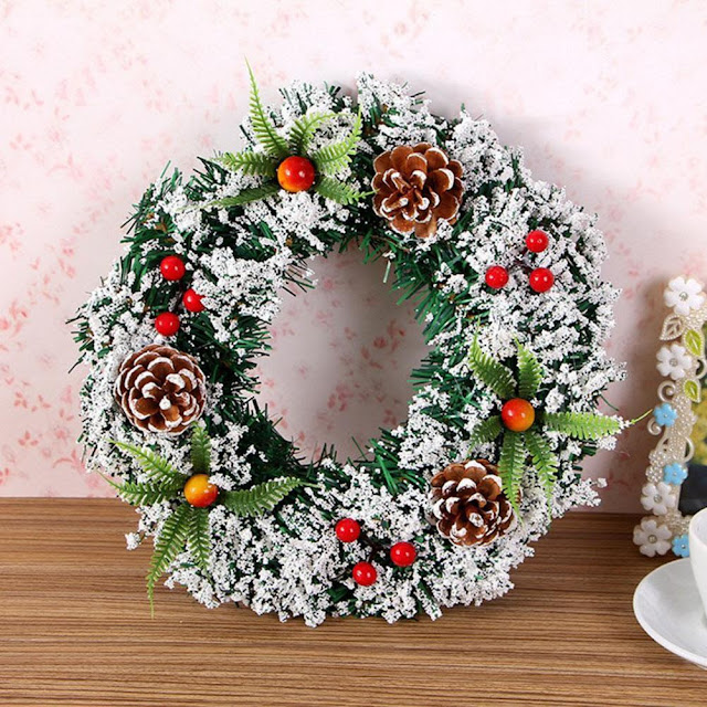 Snowy Artificial Spruce Christmas Wreath