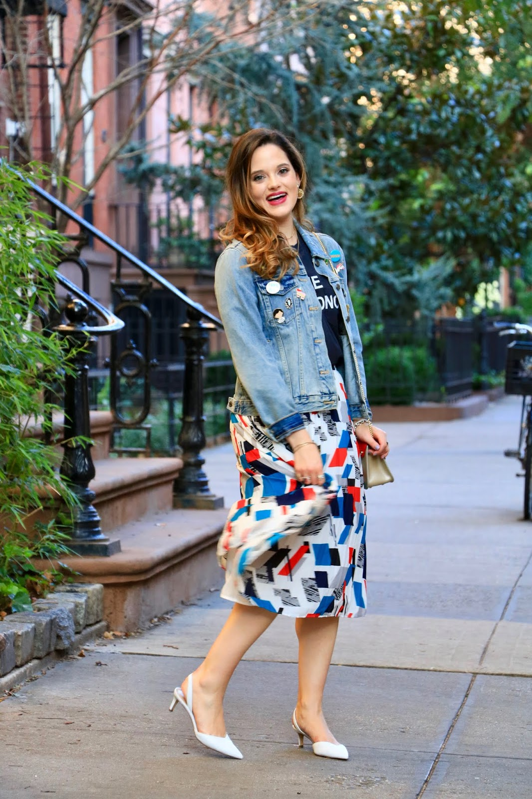 Nyc fashion blogger Kathleen Harper's denim jacket outfit ideas