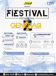 Informasi Lomba Print Ad, Cover Music, Presenter Online Fiestival 2016 Peringati HUT ke-17 Fiesta FM Radio November 2016