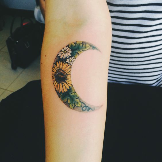 Sunflower Moon Tattoo on Arm