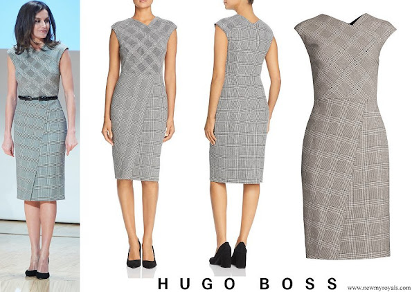 Queen Letizia wore Hugo Boss Dechesta Glen Check Stretch Cut Cap Sleeve Sheath Dress