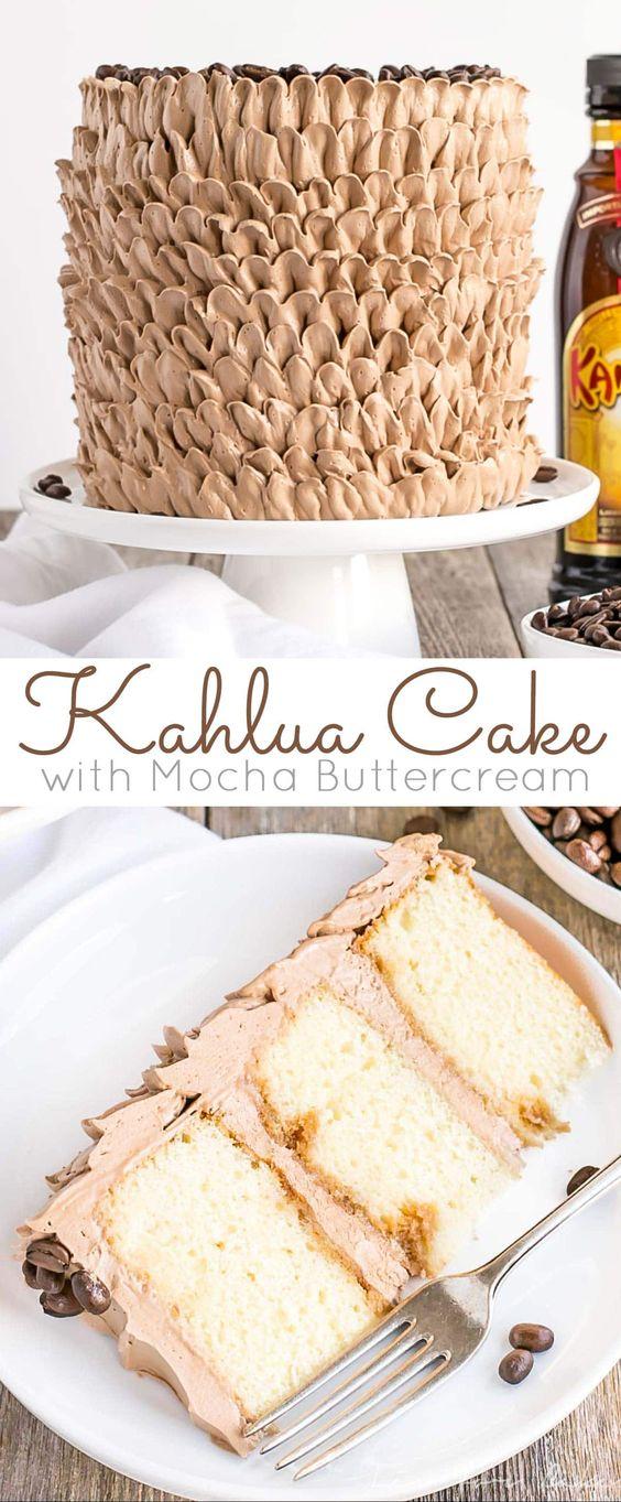 Kahlua Cake with Mocha Buttercream Recipe