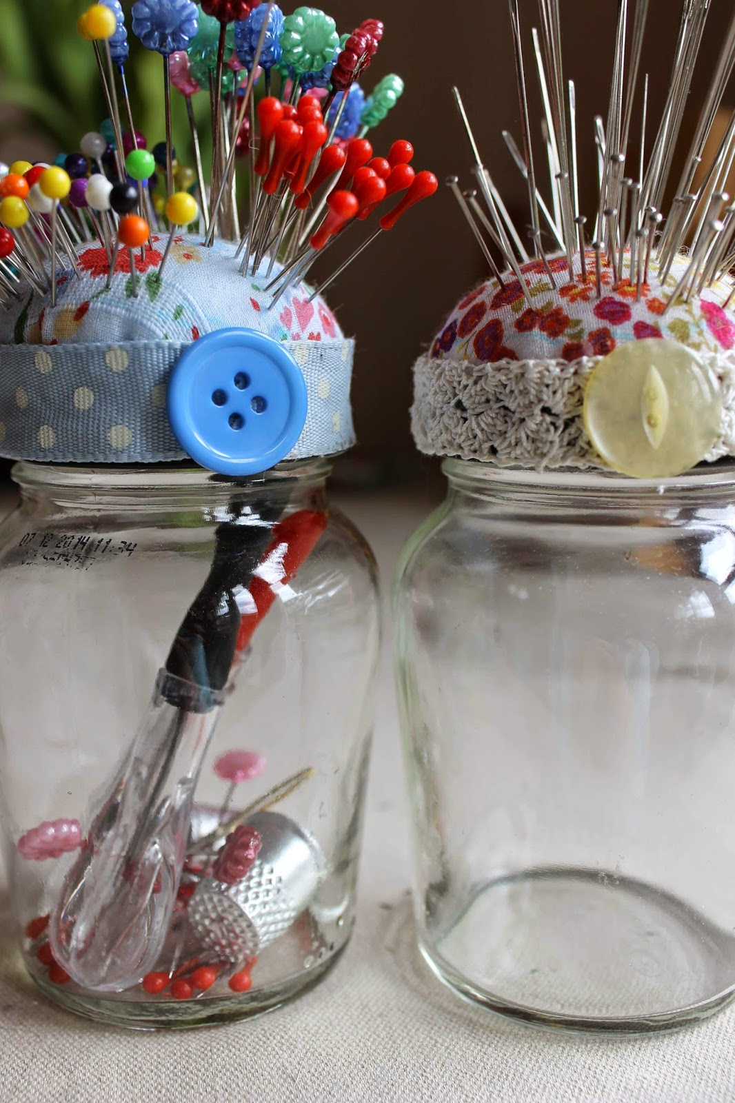 Jam jar pin cushions