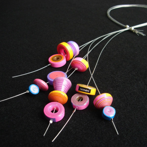 pastel rolled paper necklace