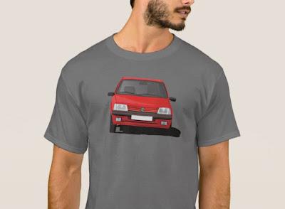 Punainen Peugeot 205 GTi t-paita