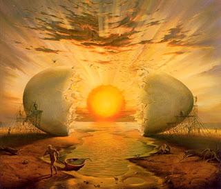 Ο ήλιος λάμπει ανάμεσα από ένα τεράστιο κομμένο αυγό (σουρρεαλισμός)