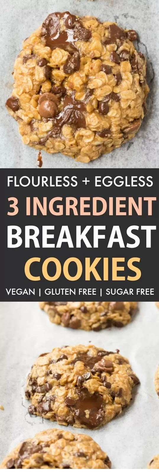 3 Ingredient Oatmeal Breakfast Cookies (Vegan, Gluten Free)