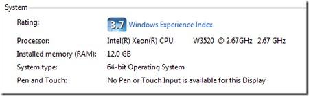 Hệ điều hành 64-bit chạy với 12 GB RAM