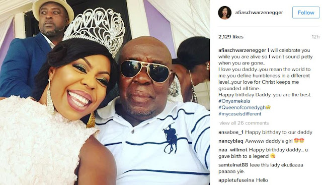 Afia Schwarzenegger and father