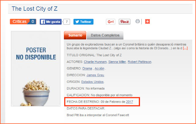 "25 Abril - Fecha de Estreno de ""The Lost City of Z"" en Argentina!!!! TLCOZ%2BARGENTINA"