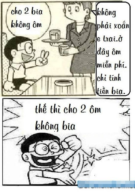 Ảnh hài hước nobita chế cho 2 bia ôm