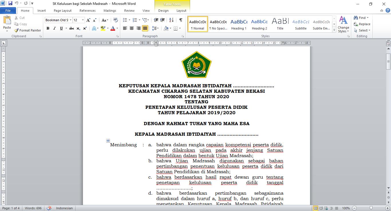 SK Kelulusan Bagi Sekolah Madrasah Ibtidaiyah Tahun 2020
