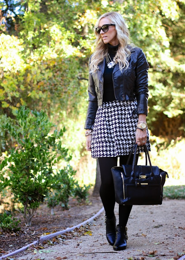 houndstooth skirt with booties