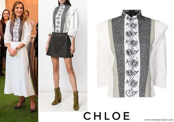 Queen Rania wore Chloe hoop trim contrast panel blouse
