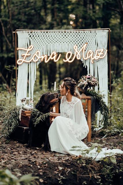 Psia miłość. Brązowy labrador i Panna Młoda. Stylizowana sesja zdjęciowa Bridal Blog.