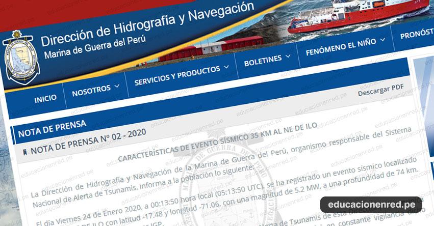 Potente sismo de magnitud 5.2 registrado en Moquegua No Genera Tsunami en el litoral peruano, informó la Dirección de Hidrografía y Navegación (DHN) de la Marina de Guerra del Perú