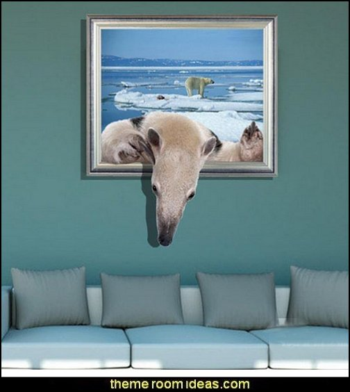3D Roaring Bear Wall Sticker   penguin bedrooms - polar bear bedrooms - arctic theme bedrooms - winter wonderland theme bedrooms - snow theme decorating ideas - penguin duvet covers - penguin bedding - winter wonderland party ideas - Christmas