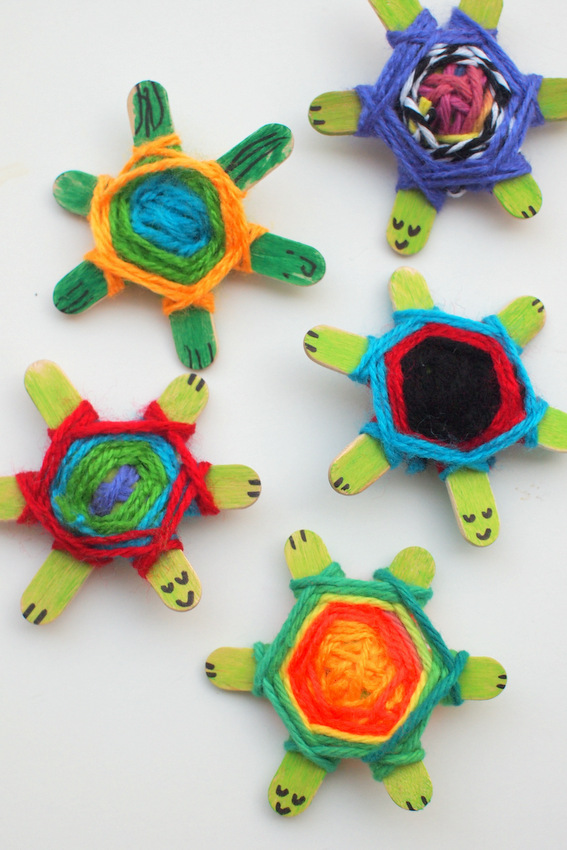 image about God's Eye Printable Instructions known as Weaving Lovely Youngster Turtles Getting Gods Eye Weaving Behavior