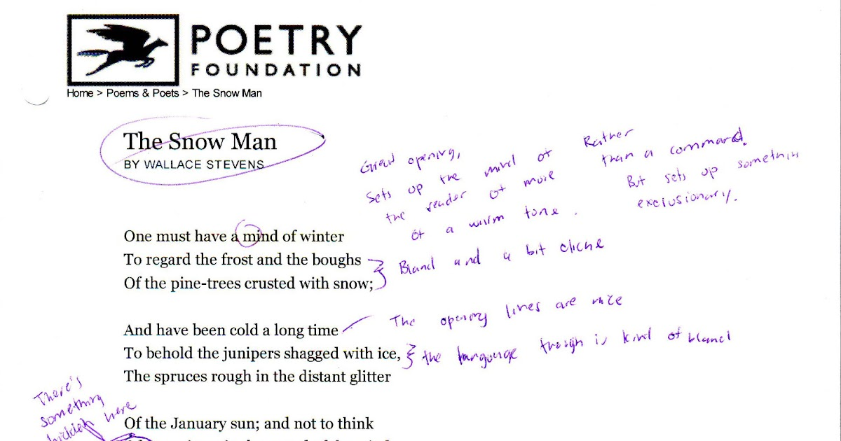 the snow man wallace stevens theme