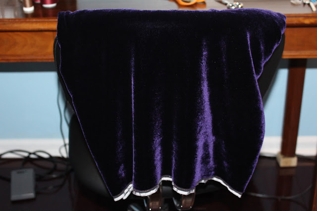 Custom-dyed dark purple velvet